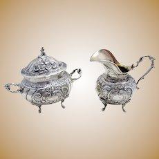 Antique Swedish Hallmarked Solid Silver 276g Rococo Style Lidded Sugar Bowl & Cream Milk Jug Tea Caddy.