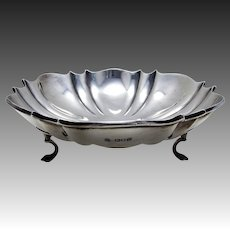 "Antique (1908) EDWARDIAN 8 1/4"" wide, Solid Sterling Silver Tazza Fruit Bowl Compote Comport Footed Dish"