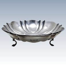 """Antique (1908) EDWARDIAN 8 1/4"""" wide, Solid Sterling Silver Tazza Fruit Bowl Compote Comport Footed Dish"""