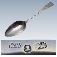 Rare Provincial (c1790) Georgian-George III Exeter Hallmarked Solid Sterling Silver Tea Spoon. William Welch. 18th-Century.