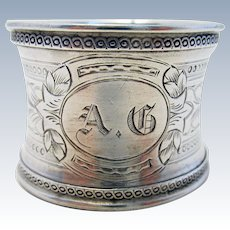 Antique French (c1910) Solid Sterling Silver .950 Hallmarked Serviette NAPKIN RING. Early 20th-century.