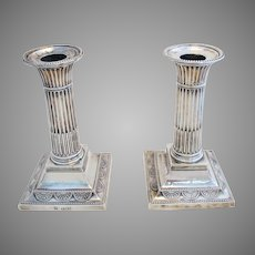 "Pair of Antique Victorian (1898) Solid Sterling Silver English Corinthian Column Candle Holder Candlesticks. 5 1/2"" tall. 19th-Century."