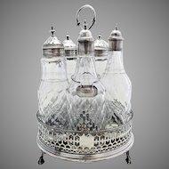Antique George III (1777) English Georgian Solid Sterling Silver Cruet Set Stand, Antique Cut Glass Bottle Oil Vinegar Jar + Ketchup Label