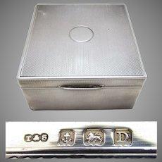 Quality ART DECO (1920) Solid Sterling Silver Cigarette Cigar Trinket Jewelry Casket Case Box. Minimalist. Turner & Simpson.