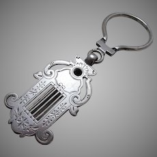 Austro-Hungarian Antique (c1890) Solid SILVER 800 Victorian Chatelaine Belt Key Clip Chain Ring. Harp. Austria-Hungary Hallmarks