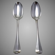 Pair of Rare George I, Andrew Archer 1715 Solid Britannia SILVER English Georgian RATTAIL Table Spoons. Early 18th-Century.