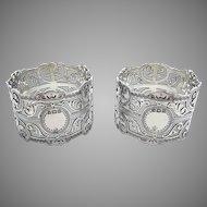 Pair Antique Edwardian Solid Sterling Silver Pierced Open Work Serviette Napkin Rings. Provincial English Hallmarked Bristol 1907.