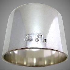 Heavy 62g! VICTORIAN Antique Solid Sterling Silver Plain Serviette Napkin Ring. English Hallmarked 1897. Wakely & Wheeler.