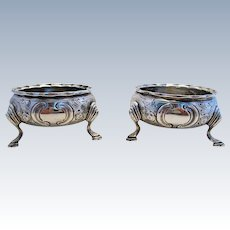 Pair GEORGIAN George III (1788) ANTIQUE Solid Sterling Silver English Hallmarked Salts Dish Cellars