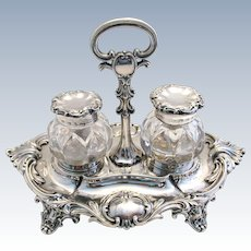 Rare Ladies Version 19th-Century (1844) Antique Solid Sterling Silver Sheffield hallmarked Double inkwell inkstand. Early Victorian.