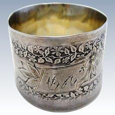 Antique French (c1890) Sterling Silver Hallmarked Large Serviette NAPKIN RING. Flower & Leaf. 19th-century. Minerva .950
