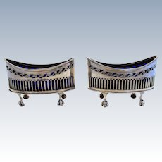 Large Heavy Pair (138g!) Victorian Navette Shape PIERCED Antique Solid Sterling Silver hallmarked MASTER SALTS. Original Blue Glass liners