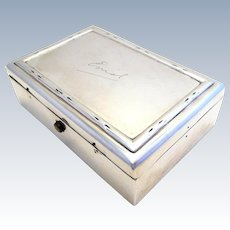 Rare Antique (1902) Edwardian Solid Sterling Silver Hallmarked Coin Sovereign Stationery Box Case. William Comyns & Sons