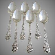 """Antique c.1880 Gorham 'Old Medici' pattern Solid Sterling SILVER Large 5 7/8"""" Tea Spoons. 19th-Century. Set of 6."""