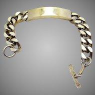 70s Vintage Solid Sterling SILVER Gilt/Gold Wash Curb Identity ID Men Tag Bracelet. English Hallmarked. 102g.