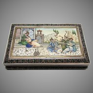 Antique North Indian Mughal Art Hand Painted Miniature Painting Persian Sadeli Box, Courtyard Scene & Musicians, India c.1900.