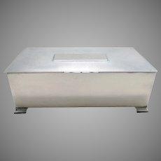 Sterling Silver ART DECO Table Cigarette Box Cigar Trinket Jewelry Casket Case. Mappin & Webb. English Birmingham hallmarked.