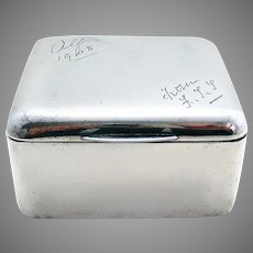 Sampson Mordan ANTIQUE Sterling Silver Table Cigarette Box Trinket Jewelry Cube Case. English Hallmarked. 19th-Century 1899.