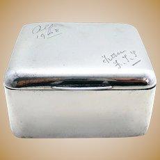 Sampson Mordan ANTIQUE Sterling Silver Table Cigarette Box Trinket Jewelry Cube Case. English Hallmarked. 19th-Century 1899.