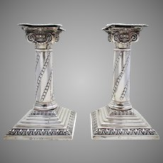 Pair of Antique Victorian (1897) Solid Sterling Silver Corinthian Column Candle Holder Candlesticks. English Hallmarked 19th-Century.