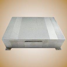 Top Quality Sterling Silver Table Cigarette Box Cigar Trinket Jewelry Casket Case Vintage Art Deco style. English Birmingham hallmarked.