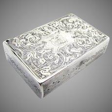 Rare CHESTER 1884 Victorian Antique Solid Sterling SILVER Vesta Case Match Striker Holder Snuff Pocket Box. 19th-Century English Hallmarked.