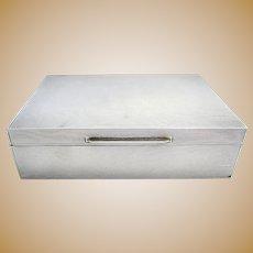 MINIMALIST Solid Sterling Silver ART DECO Table Cigarette Box Cigar Trinket Jewelry Casket Case. English Hallmarked.