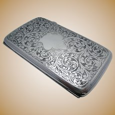 """A Huge 5 3/4"""" Wide Antique Solid Sterling Silver Cigarette Cigar Card Case/Box. English Victorian Style Birmingham Hallmarked."""