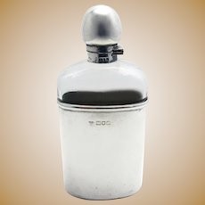 Unusual Edwardian (1906) Solid Sterling SILVER Mounted & Glass English Antique Spirit Whisky Hip Flask Bottle Container.