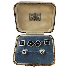 English Art Deco Onyx and Diamond Cufflinks and Buttons Set