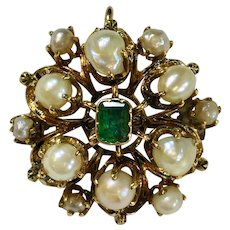 Vintage Gold Brooch, Pendant with Emeralds and Pearls