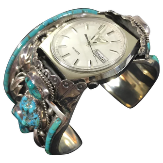 South Western Handcrafted Sterling Silver and Turquoise Cuff Watch