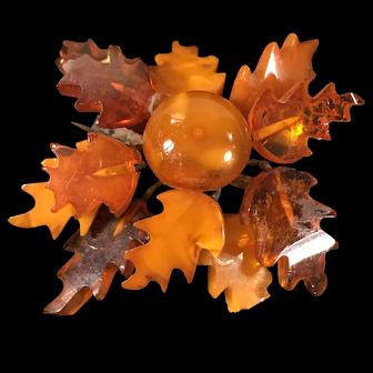 Vintage Amber Oak Leaf Brooch