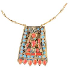 Ca.1900 Handcrafted Coral and Turquoise Pendant