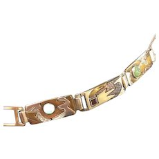 Handcrafted Sterling, Copper, and Brass Modern Choker with Gem Stones