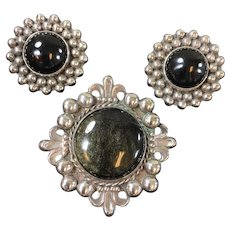 Vintage Mexican Sterling and Black Onyx Earrings and Brooch Set