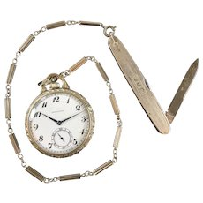 Vintage Open Face Hamilton Pocket Watch and Pocket Knife