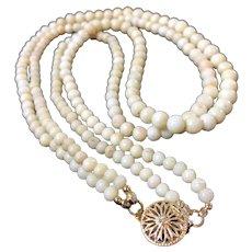 18-1/2 Inch Vintage 2-Strand Angel Skin Coral Necklace