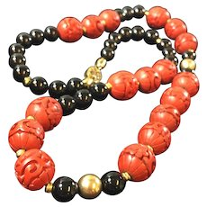 24 Inch Vintage Cinnabar and Black Onyx Necklace with Silver Clasp