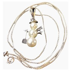 Vintage Cultured Pearl and Sterling Silver Snowman Pendant Necklac