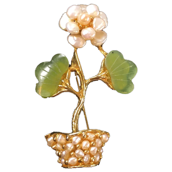 Vintage Swoboda Floral Design Brooch Ca.1950's with Carved Jade and Sweet Water Pearls