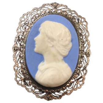 Vintage Wedgewood Type Sterling Silver Cameo Brooch and Pendant with Marcasites Stones