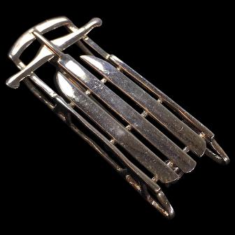 Vintage Sterling Silver Sled Brooch 6.1 Grams