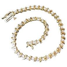 Vintage 10K Gold Tennis Bracelet with Clear Sapphire Stones 7.7 Grams