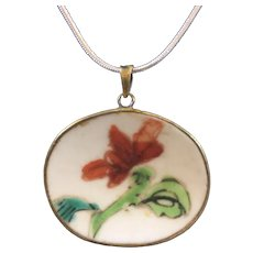 Asian Handed Painted Porcelain Pendant with 15 inch Sterling Silver Chain