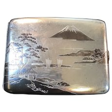 Art Deco Mixed Metal 950 Silver Cigarette Case with Asian Motif Copper & Brass Accents