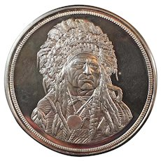 Vintage 5 Troy Ounce .999 Silver Commemorative Coin of The Silver Chief, Running Antelope $50 Face Value