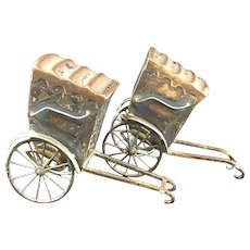 Vintage Ca.1910's Sterling Silver 950 Handcrafted Rickshaw Salt and Pepper Shakers