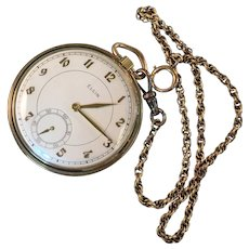 Vintage Ca.1940's Elgin Pocket Watch Size 16 with Chain