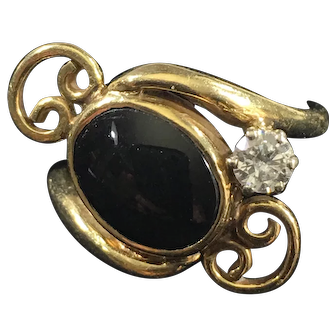 Vintage 14K Gold Ring w/Onyx and ¼ CT Diamond SALE